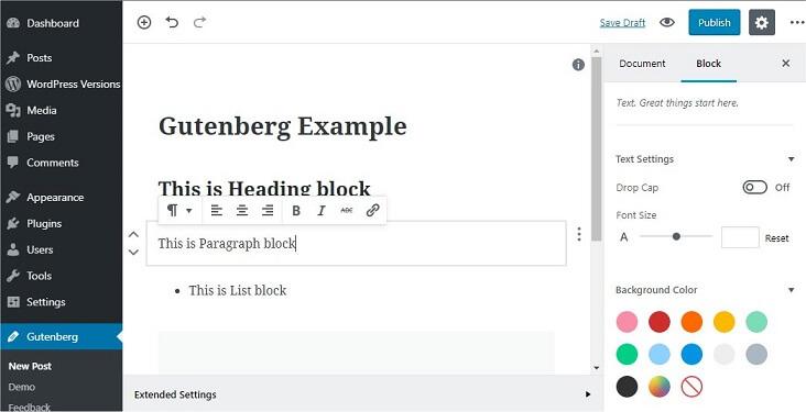 Blocks in Gutenberg
