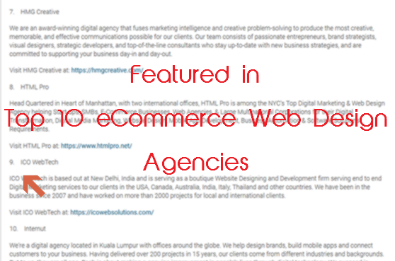 Featured Among Top Ten Ecommerce Web Design Agencies In Prweb